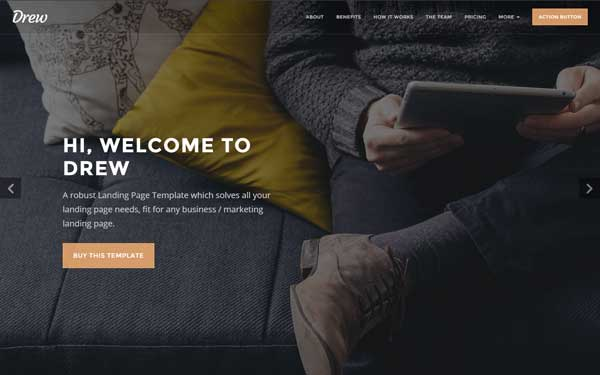 Drew All In One Marketing Landing Page Live Preview WrapBootstrap - Html welcome page template